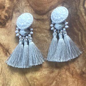 H&M Grey Tassel Statement Earrings